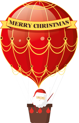 Santa in a balloon
